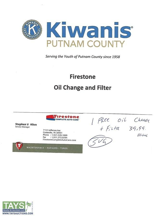 Tays Realty Auction Auction Absolute Online Charity Auction 49th Annual Kiwanis Charity Auction Item One Free Oil Change Up To 5 Quarts Oil