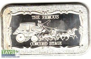 ".999 One Ounce Silver ""Concord StageCoach"" Proof Silver Bullion Bar"