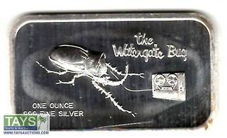 ".999 One Ounce Silver ""The Watergate Bug"" Proof Silver Bullion Bar"