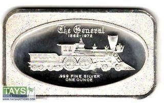 ".999 One Ounce Silver ""The General, Famous Civil War Locomotive"" Silver Bullion Bar"