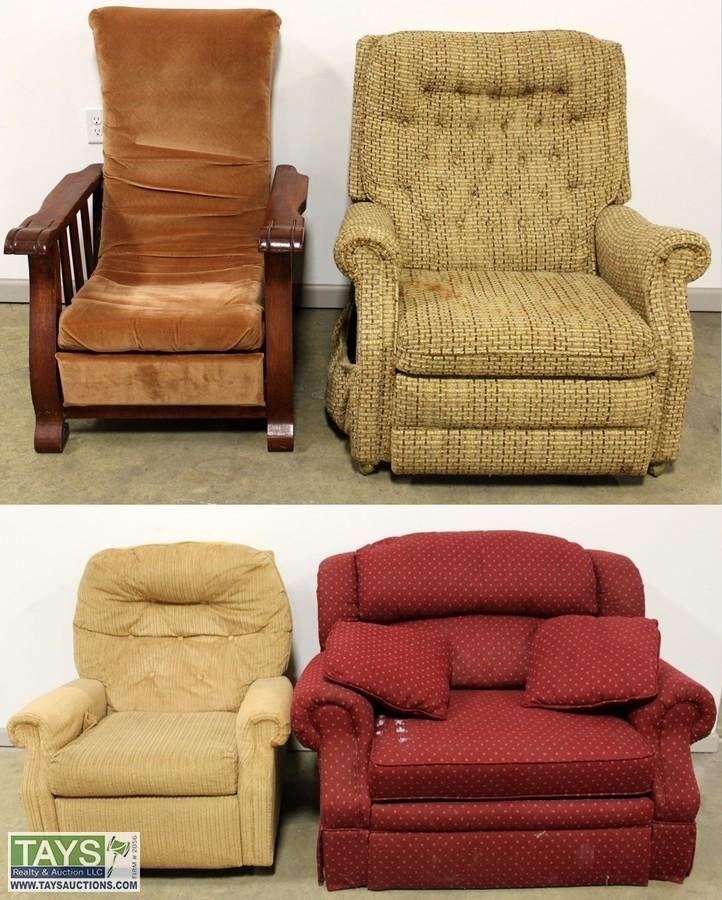 Three Cloth Reclining Chairs And Red Cloth Reclining Chair. U2039u203a