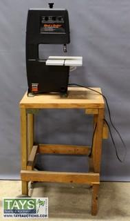 """Black and Decker 7 1/2"""" Power Band Saw with Wooden Stand and Wheels"""