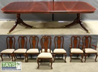 Hardwood Leaf Dining Table with Eight Chairs