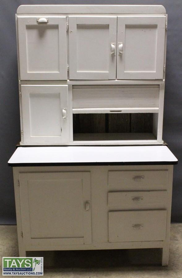 Wooden Hoosier Cabinet With Metal Counter And Sifter Accessories