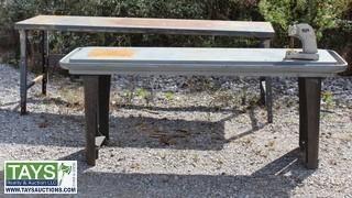 2 Metal work shop tables & Arber Press
