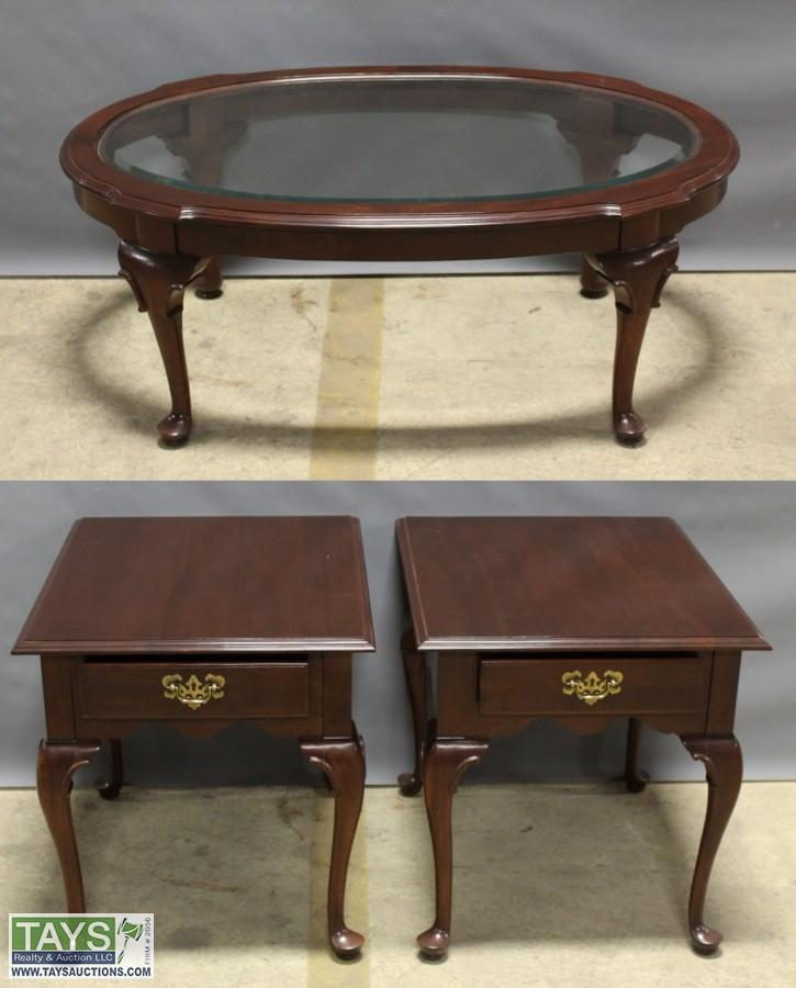 Two Ethan Allen End Tables And One Glass Top Coffee Table. U2039u203a