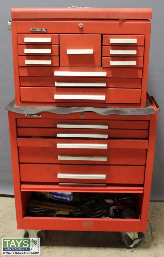 Kennedy Tool Box With Wheels And An Assortment Of Tools. U2039u203a