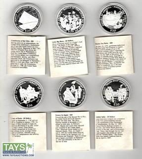 ".999 Silver ""History Of The United States"" Proof Silver Coins- Set Of 9 Coins"