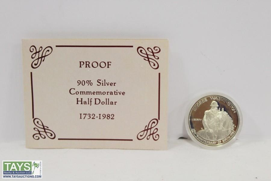 GEORGE WASHINGTON 90/% PROOF COMMEMORATIVE SILVER HALF-DOLLAR 1732-1982.